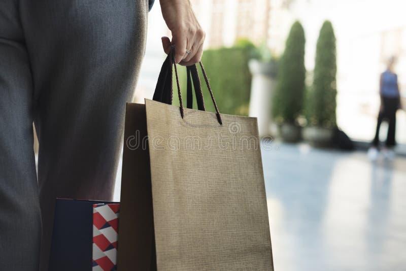 妇女阴物购物放松概念 免版税库存图片