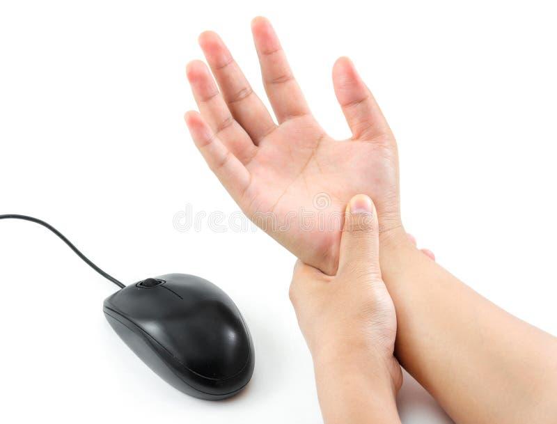 妇女从老鼠的手痛苦 免版税库存图片