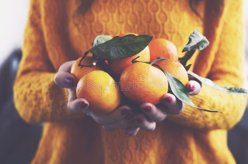 妇女以黄色编织了有成熟柑桔的套头衫 库存照片