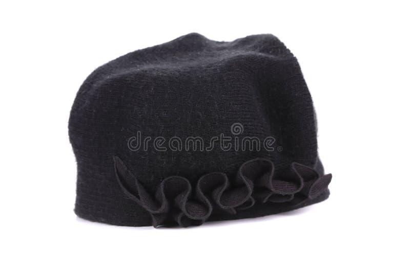 妇女黑色编织帽子。 库存图片
