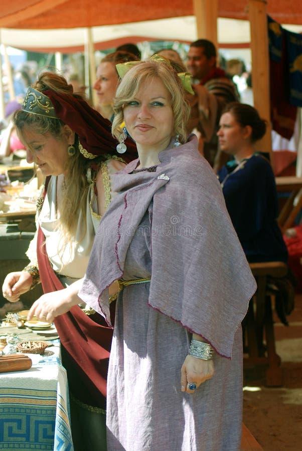 妇女画象历史服装的 库存照片