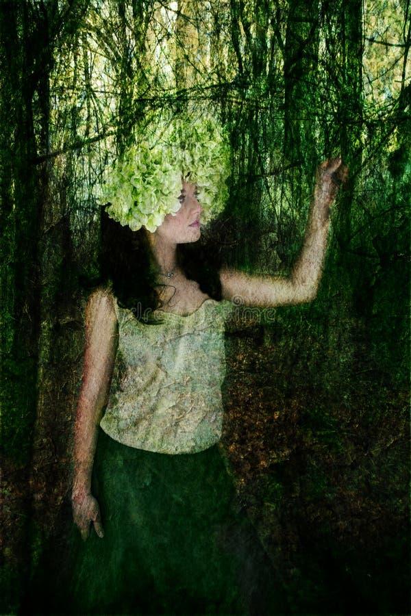 妇女画象有花的在她的头在森林 皇族释放例证