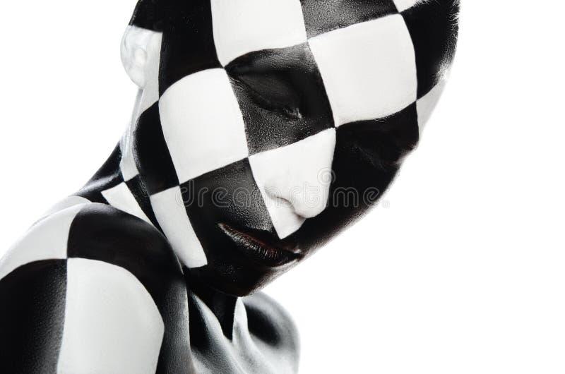 妇女画象棋盘的 免版税库存图片