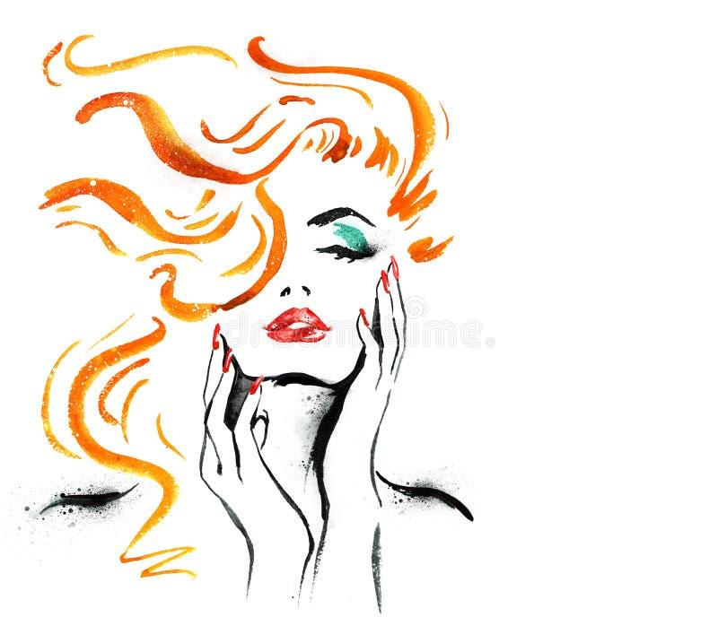 妇女画象用手 抽象水彩 方式例证 红色嘴唇和钉子水彩绘画 化妆用品advertiseme 向量例证