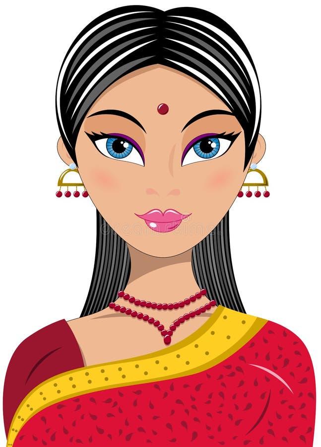 妇女画象美丽的印地安人 皇族释放例证