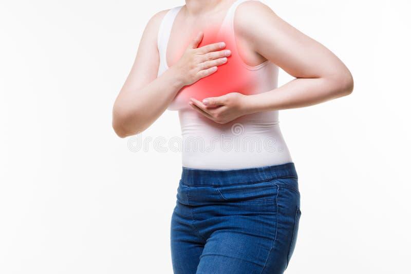 妇女` s乳房测试,心脏病发作,在人体的痛苦 免版税库存照片