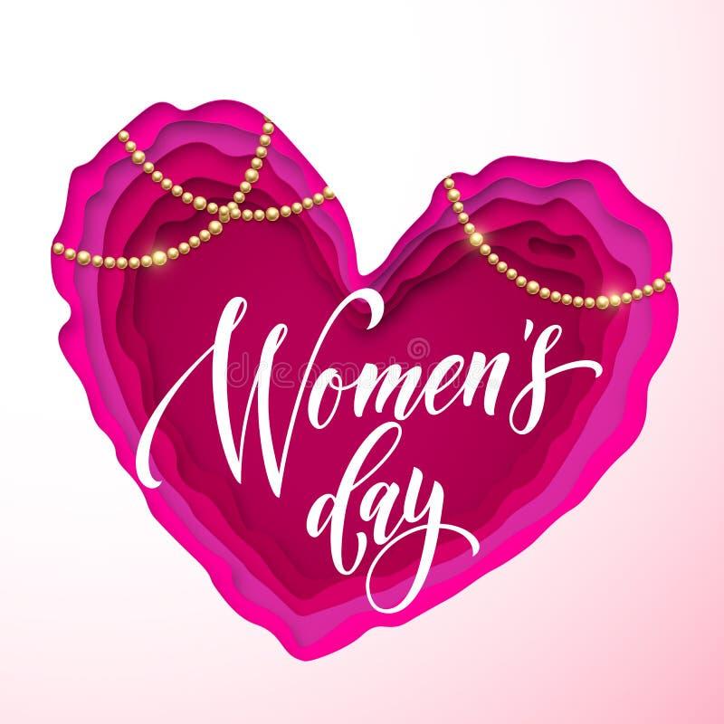 妇女` s在桃红色纸的天文本削减了心脏背景 传染媒介3月8日贺卡为母亲` s天 Papercut心脏 皇族释放例证