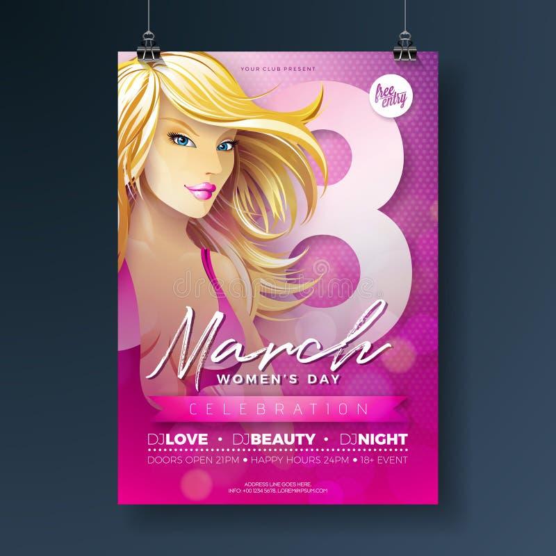 妇女` s天党与性感的Blondie女孩的飞行物例证和3月8日在桃红色背景的印刷术 国际 库存例证