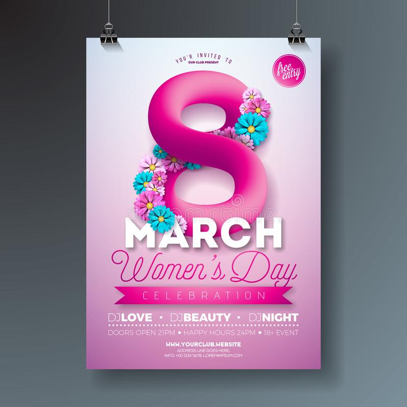妇女` s天党与抽象流体八和花的飞行物例证在桃红色背景 3月8日女性假日 库存例证