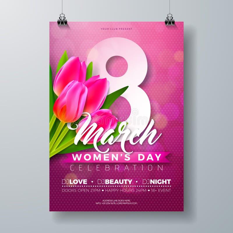 妇女` s天党与郁金香花花束的飞行物例证和3月8日在桃红色背景的印刷术信件 3月8日 向量例证