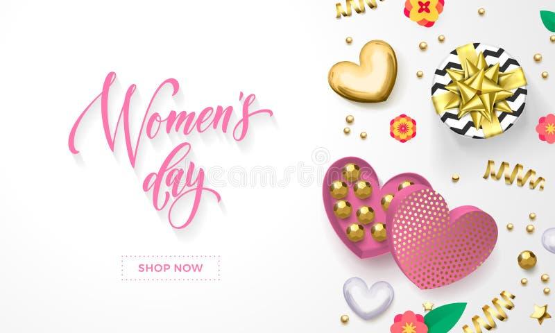 妇女` s天心脏礼物盒装饰贺卡用在金黄封皮的巧克力糖3月8日 皇族释放例证