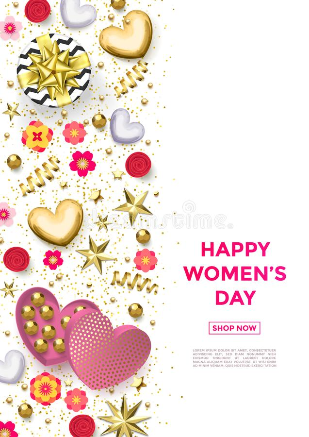 妇女` s天金心脏,礼物盒装饰贺卡海报有巧克力糖背景3月8日 皇族释放例证