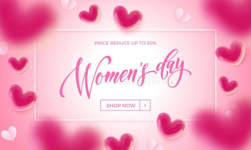 妇女` s天销售横幅有轻快优雅心脏背景 传染媒介3月8日母亲` s天销售的销售海报 向量例证