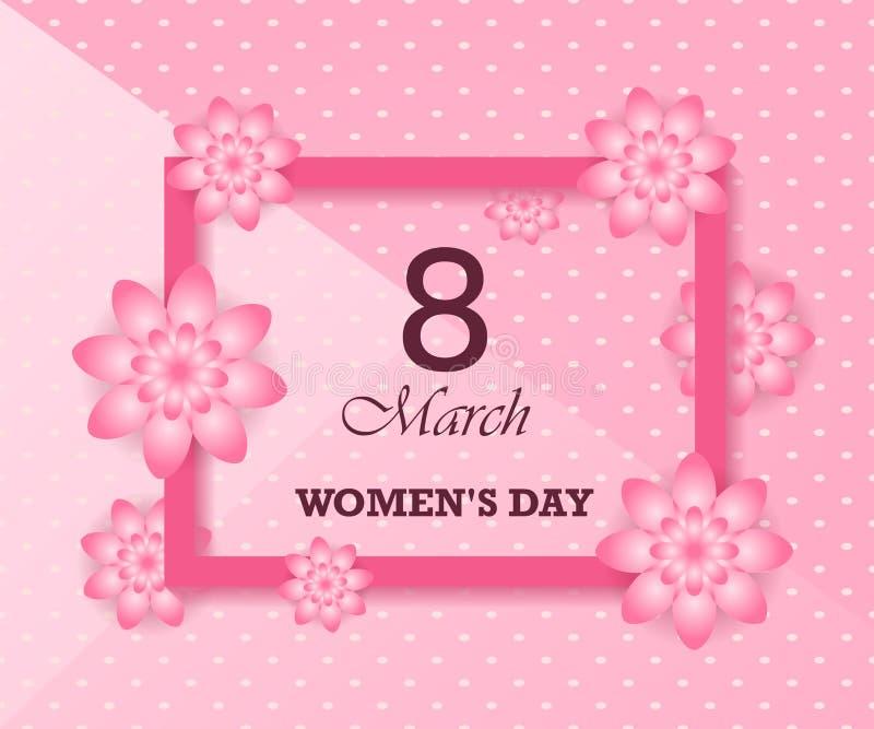 妇女` s天3月8日 与花和框架的背景 贺卡或邀请 皇族释放例证