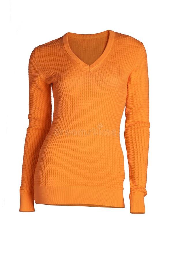 妇女` s珊瑚毛线衣 库存图片