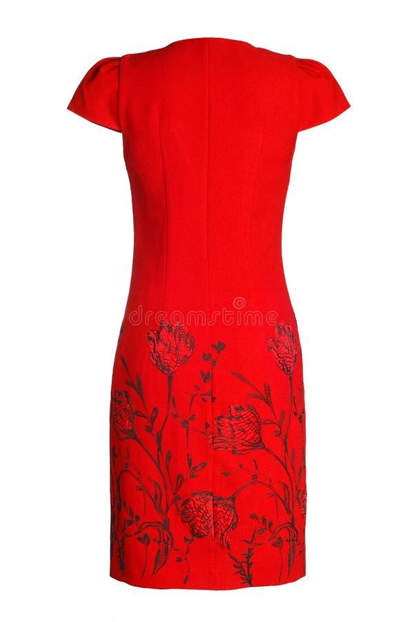 妇女` s红色礼服 免版税库存照片