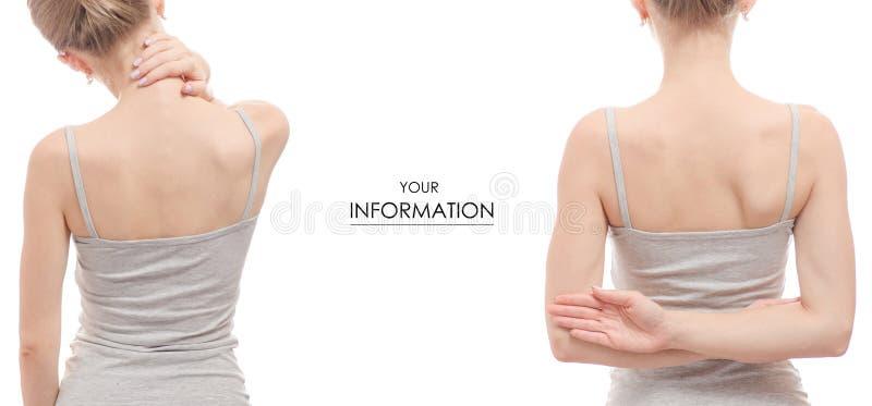 妇女` s脖子后面健康秀丽健康集合样式 库存照片