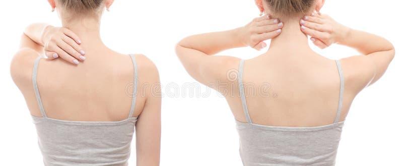 妇女` s脖子后面健康秀丽健康集合 免版税图库摄影