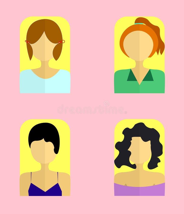 妇女` s象传染媒介例证 平的样式元素 库存图片