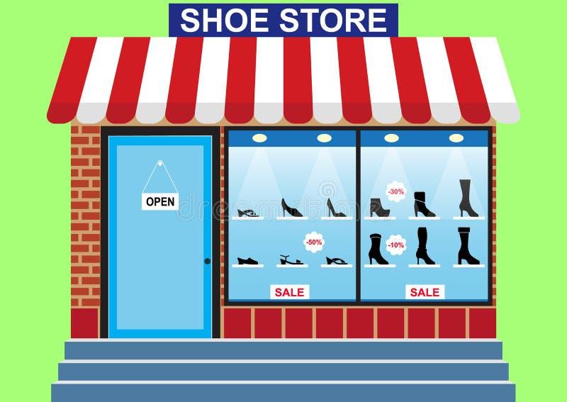 妇女` s鞋店,商店窗口 皇族释放例证