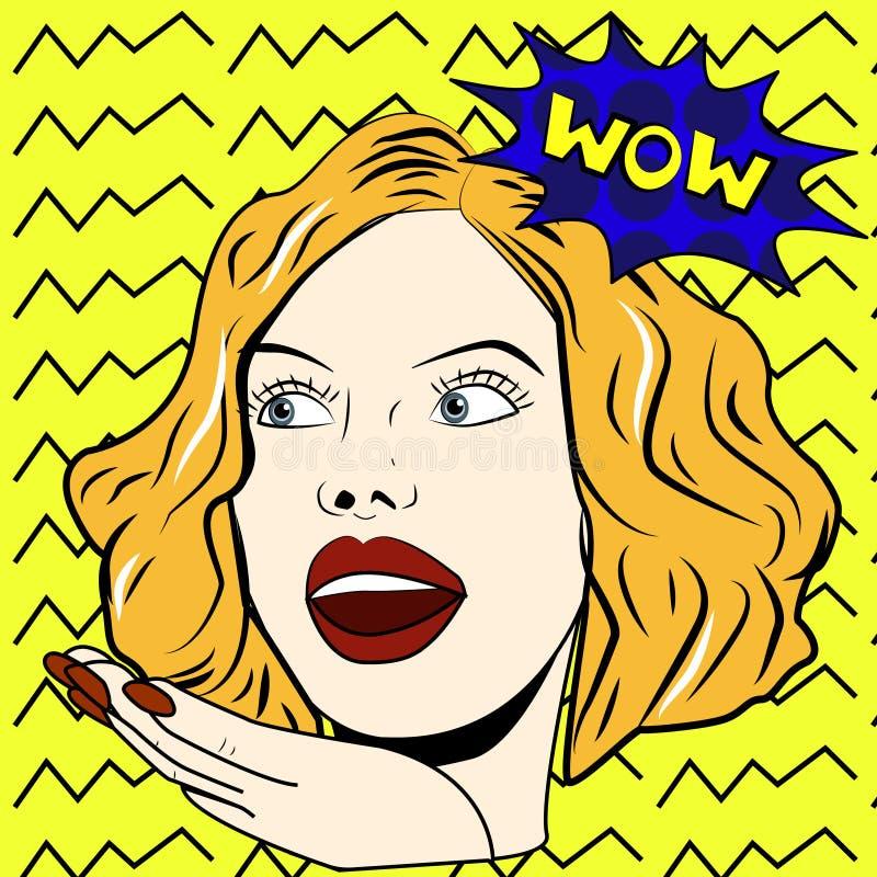 妇女说Wow妇女 惊奇的妇女 流行艺术女孩 皇族释放例证