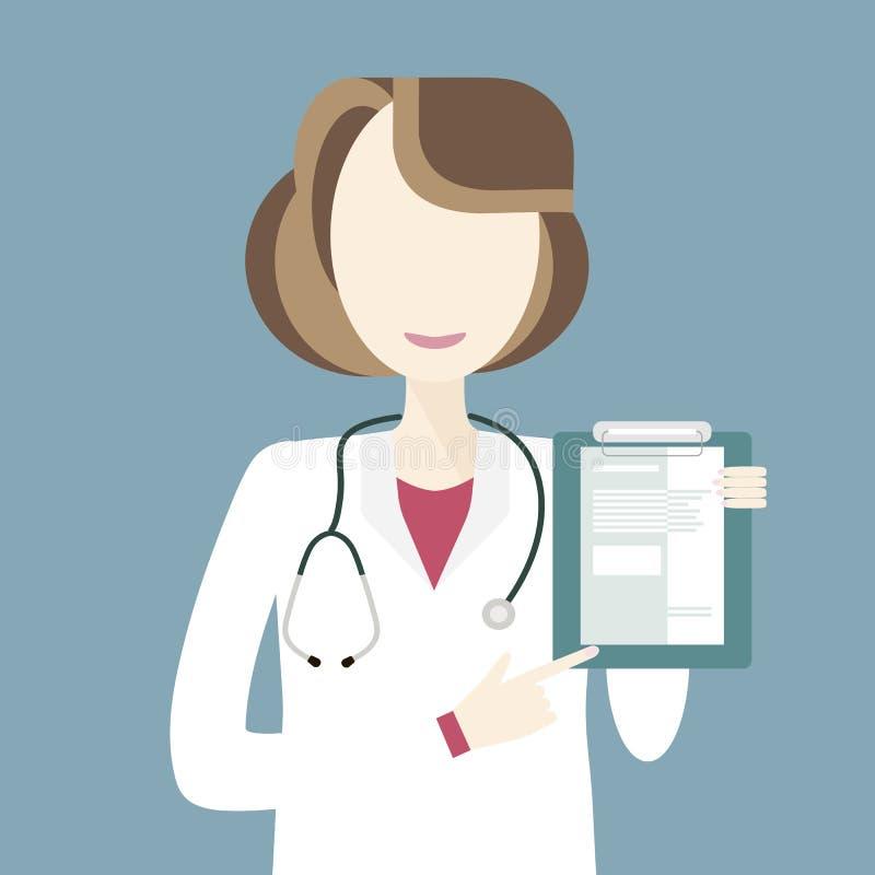 妇女Character医生 向量例证