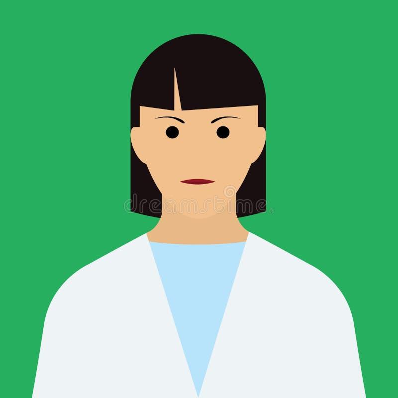妇女Icon医生 平的传染媒介 皇族释放例证