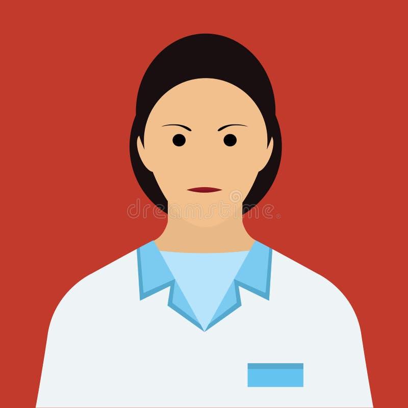 妇女Icon医生 平的传染媒介 库存例证