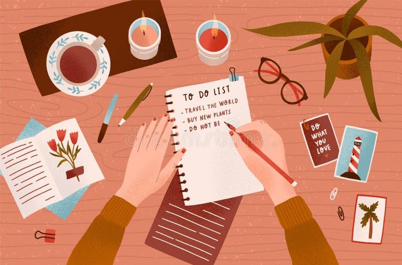 妇女s手候宰栏和写下目标达到在笔记薄或做做名单顶视图 有效 皇族释放例证