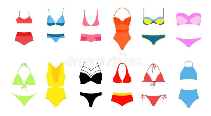 妇女s比基尼泳装集合,明亮的颜色泳装的汇集的传染媒介例证在平的设计的在白色背景 向量例证