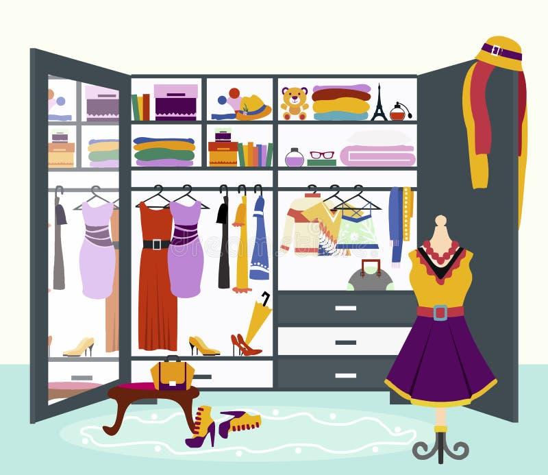 妇女s衣橱传染媒介平的设计例证 库存例证