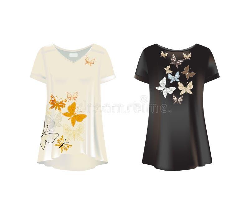 妇女s T恤杉-长袍白色,黑大模型  前面,背面图 向量例证