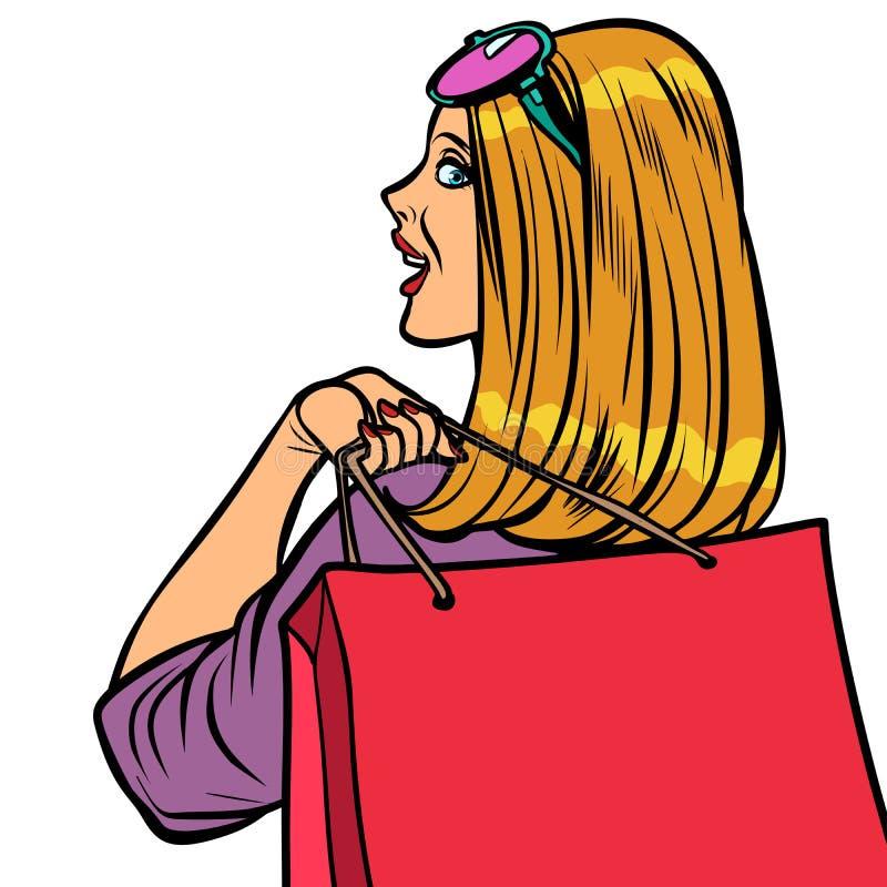 妇女Shopaholic销售 库存例证