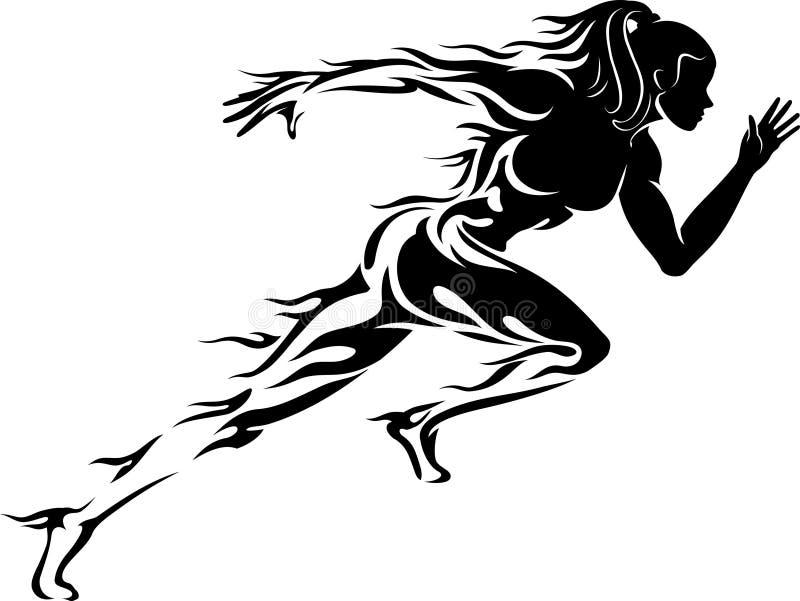 妇女Sprint奔跑 皇族释放例证