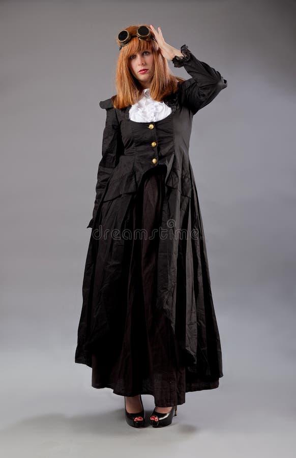 妇女steampunk玻璃 库存照片