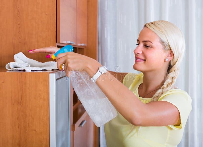 主妇打扫灰尘家具在家 免版税库存图片