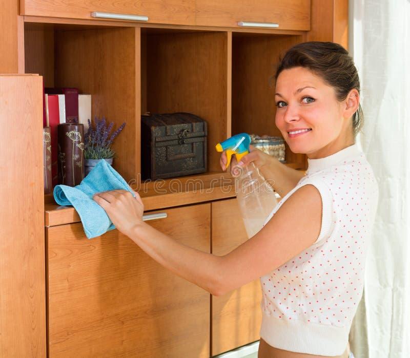 主妇有喷雾器的清洁家具 免版税库存照片