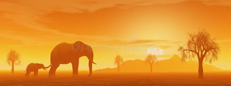 妈咪和在大草原的小的大象 向量例证