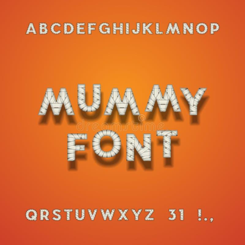妈咪绷带字体 万圣夜Sans Serif字体 信件, Punc 皇族释放例证