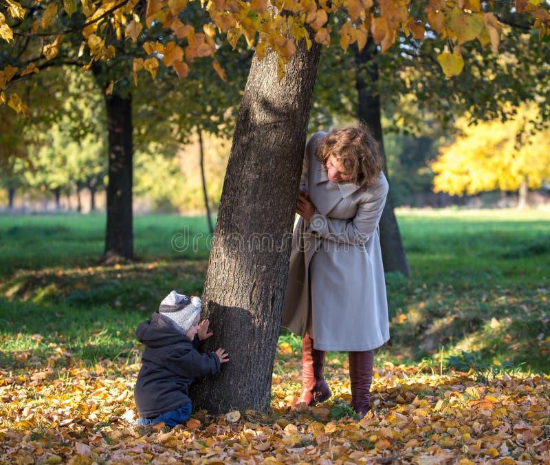 妈妈使用与她的小儿子在公园 库存图片