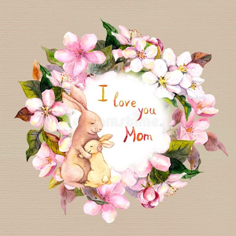 妈妈兔子拥抱她的苹果花花圈的孩子 贺卡为母亲节 水彩 向量例证