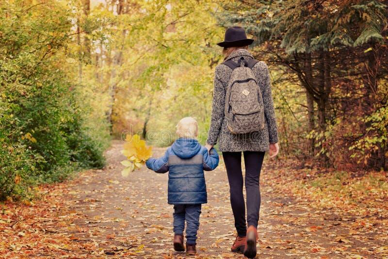 妈妈和儿子在从后面的秋天森林视图走 库存照片