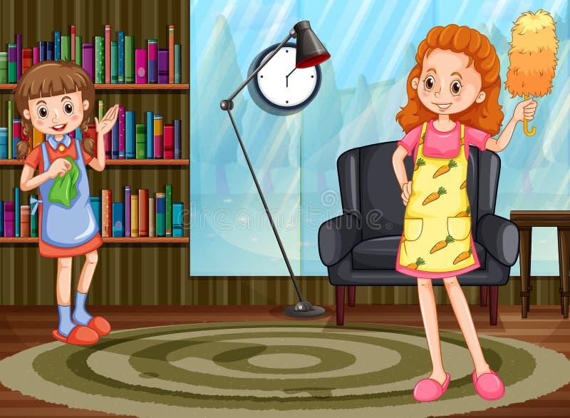 妈妈和女儿清洁房子 向量例证