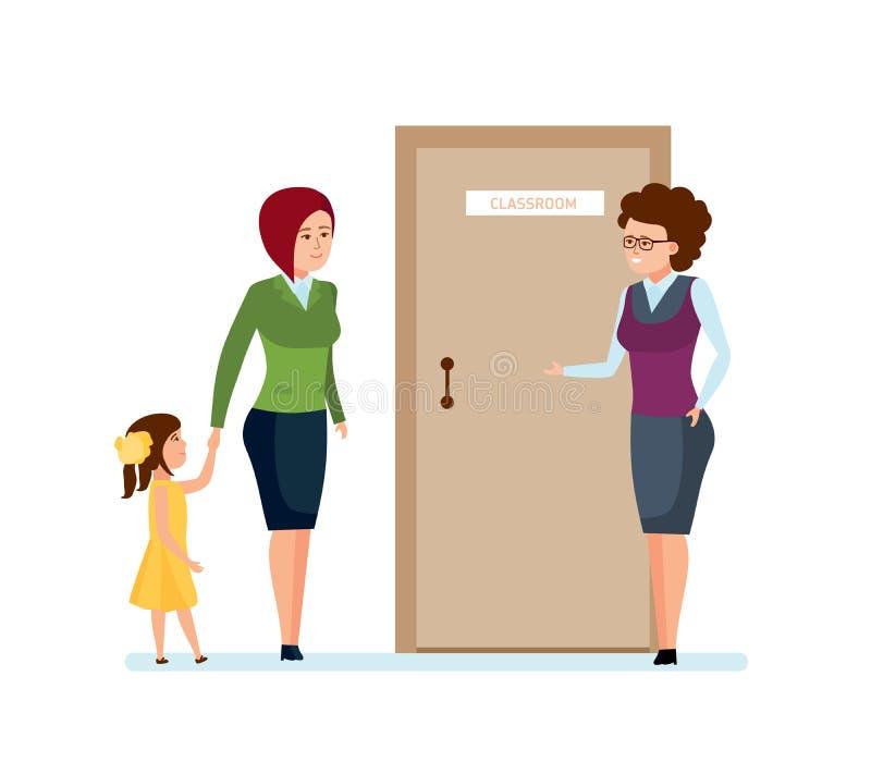 妈妈和女儿去在第一次学校教师 库存例证