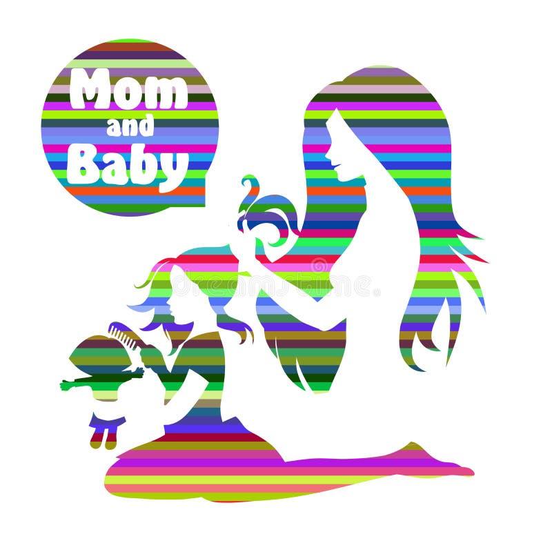Download 妈妈和女儿 向量例证. 插画 包括有 微笑, 婴孩, 产假, 油漆, 少许, 时髦, 设计, 概念性, 母亲 - 62535609