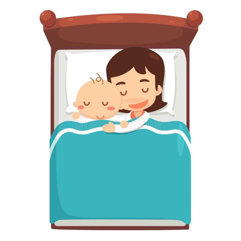 妈妈和婴孩在床上睡觉 向量例证