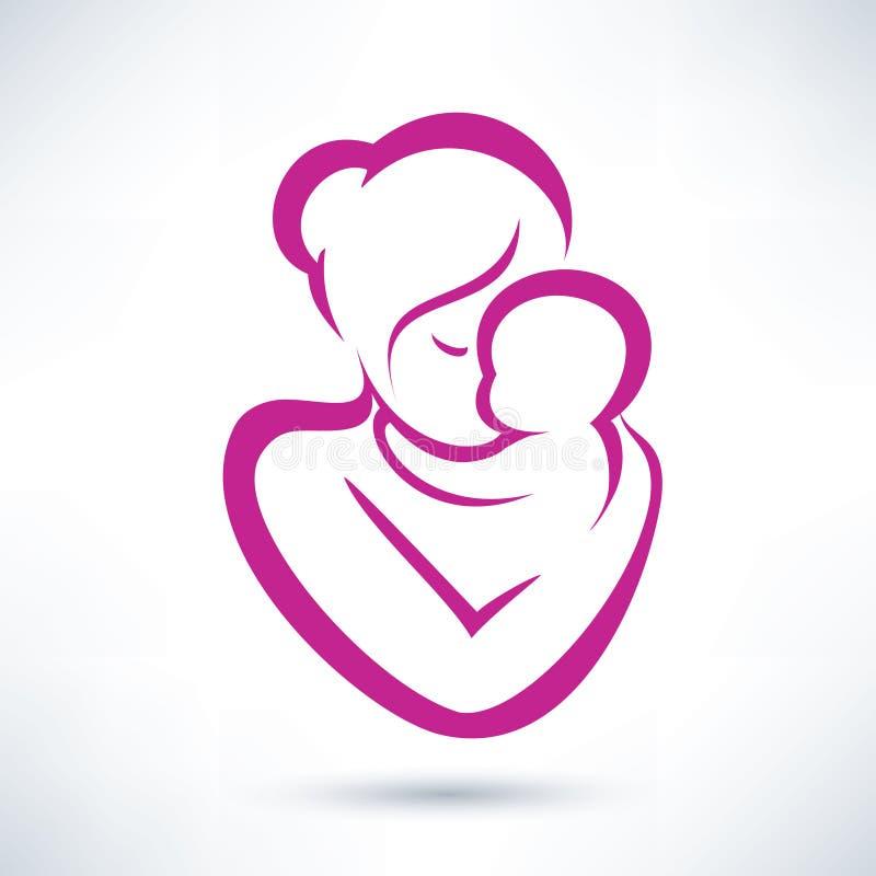 妈妈和婴孩象 皇族释放例证