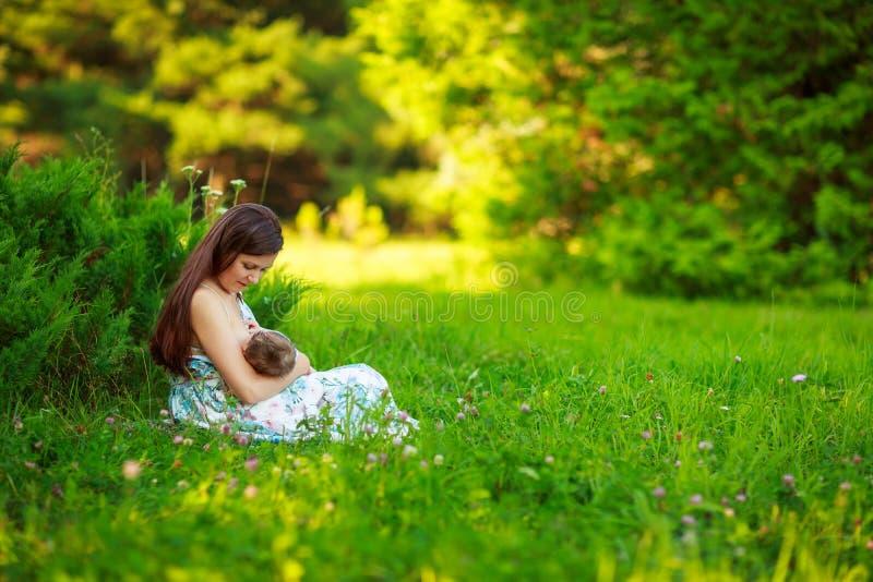 妈妈喂养婴孩,哺乳,夏天 免版税库存照片