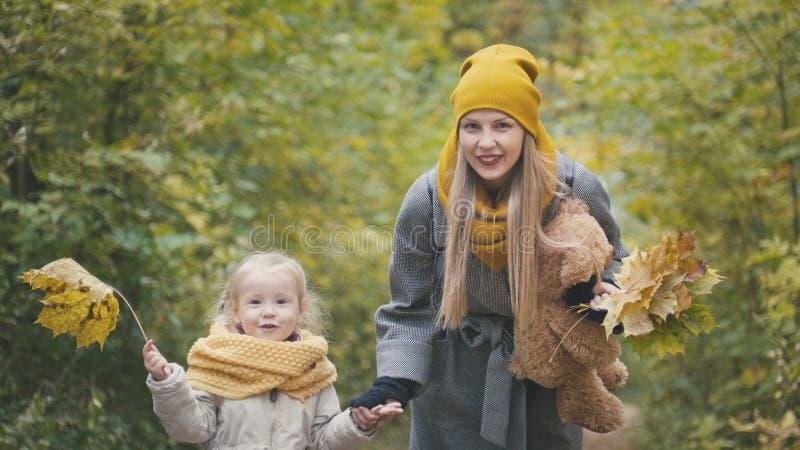 妈妈在秋天公园花费与她的女儿的时间-步行并且收集叶子,关闭  免版税库存照片