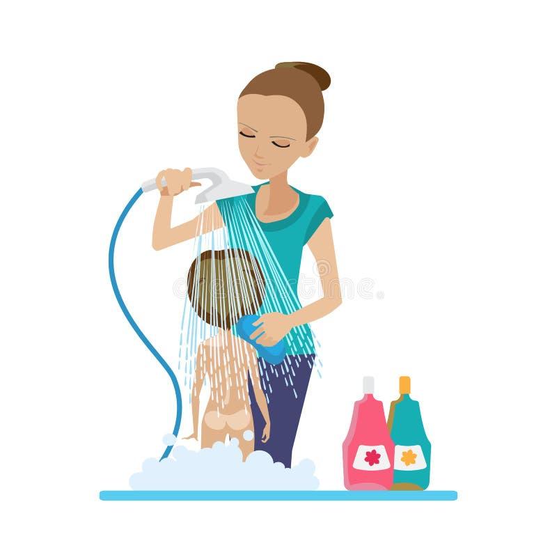 妈妈在阵雨沐浴婴孩,在卫生间里,有肥皂的,香波 库存例证
